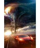 sy'decorative Red Sports Car Driving Away from Tornado Photo Art Print P... - $22.55