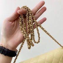 AUTH CHANEL BOY WOC Yellow Lambskin Wallet on Chain WOC Bag Ghw image 3