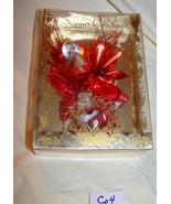Vintage Boxed Red Christmas Corsage w/bell, angel-Co4 - $9.50