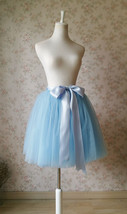 Light Blue Tulle Midi Skirt Ballerina Tulle Skirt Knee Length image 4