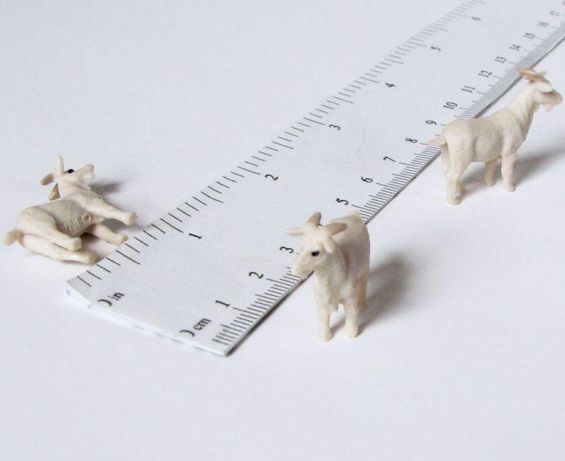 Dollhouse 3 Toy White Horse Figures Micro-Mini Miniature