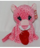 Ganz Brand HV9105 Pink Spotted Plush Chewey Style Leopard With Heart - $21.00