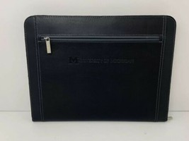 University Of Michigan Zip Around Leather Padfolio Black Excellent - $26.68