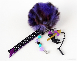 Black Cat Phone Charm with Pom Pom, Halloween, Kawaii Goth, Creepy Cute - $23.00