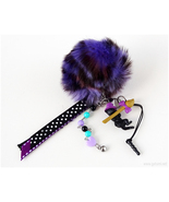 Black Cat Phone Charm with Pom Pom, Halloween, Kawaii Goth, Creepy Cute - $23.00