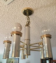 Contemporary Mid Century Retro 5 Light Chrome And Gold Chandelier - $44.55