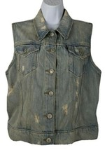 Levis Denim Jean Distressed Vest Size L Women LIght Wash - $34.64