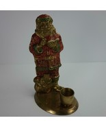 Holiday Christmas Painted Brass Santa Taper Candle Holder Made in India - $14.50