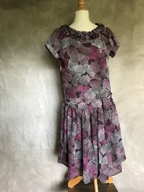 NEIMAN MARCUS HELENA Girls Chiffon Dress Cocoa Brown PINK Print 10 Ruffl... - $48.26