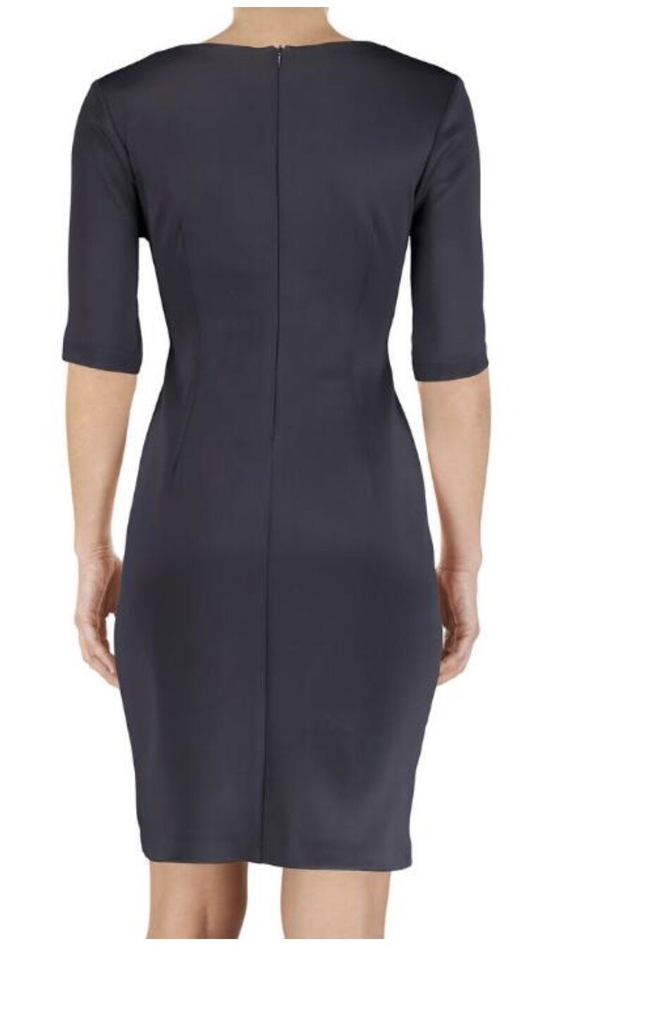 Connected Laser cut Panel Sheath midnight blue with beig insert Dress Size 8 NWT image 5