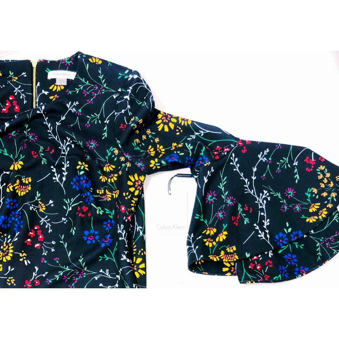 Calvin Klein Womens Black Sheath Dress Bell Sleeve Floral Print Sz 6 NWT