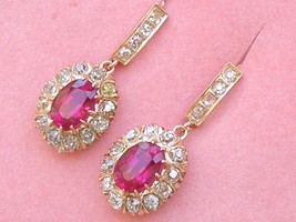 VICTORIAN 2.25ctw MINE DIAMOND SYN RUBY DROP ROSE 18K COCKTAIL EARRINGS ... - $2,856.15