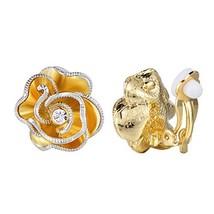 XZP Women Clip Earrings Flower 18k Gold Plated Clip-on Earrings for Wome... - $15.24