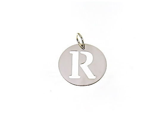 18K WHITE GOLD ROUND MEDAL WITH INITIAL R LETTER R MADE IN ITALY DIAMETER 0.5 IN