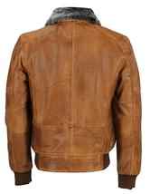Mens A2 Aviator Pilot Fur Collar Air Force B3 Brown Bomber Faux Leather Jacket image 2