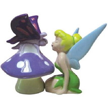 Disney's Tinkerbell Kissing a Butterfly Ceramic Salt and Pepper Shakers ... - $25.15