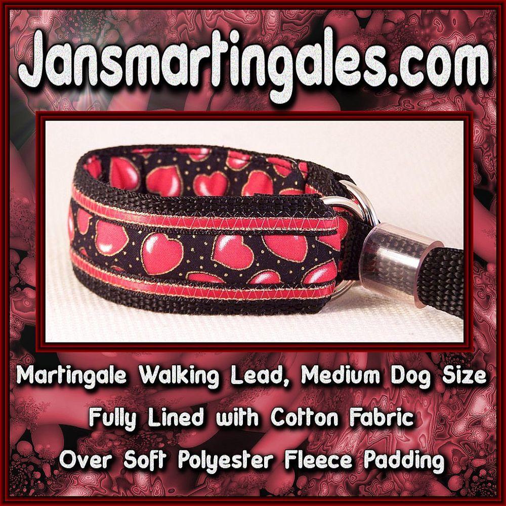 Jansmartingales, Martingale Collar/Leash Combination, Medium Dog Size, wblk2231