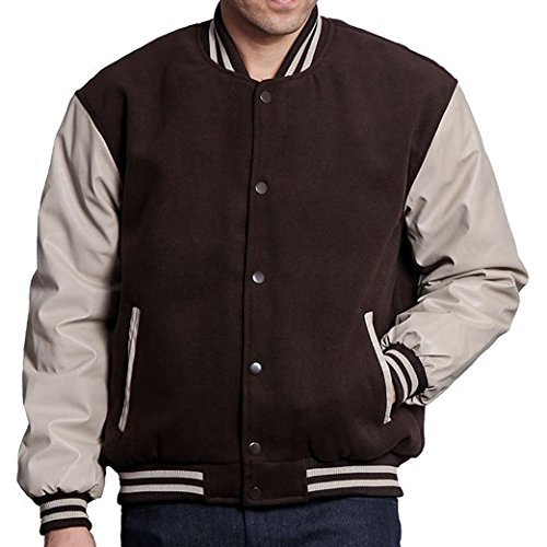 Maximos USA Men's Premium Vintage Baseball Letterman Varsity Jacket (4XL, Brown