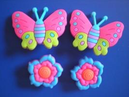 s Shoe Charm Fit Clogs Belts & WristBands W/Holes 4 Butterfly Flower - $8.99
