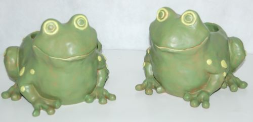 Frog Planter Two Piece Clay Like Set Green Yellow Dots Holds Pot Inside