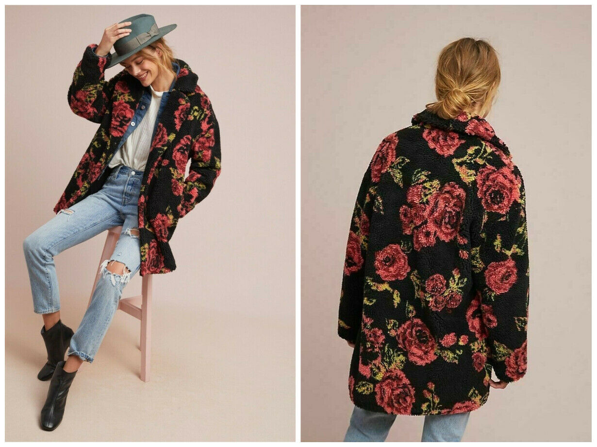 Anthropologie Winter Roses Coat by If By Sea Sz XL - NWT
