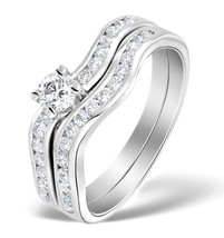 10k White Gold Fn Round Cut white CZ 925 Women Engagement & Wedding Ring Set - $69.78