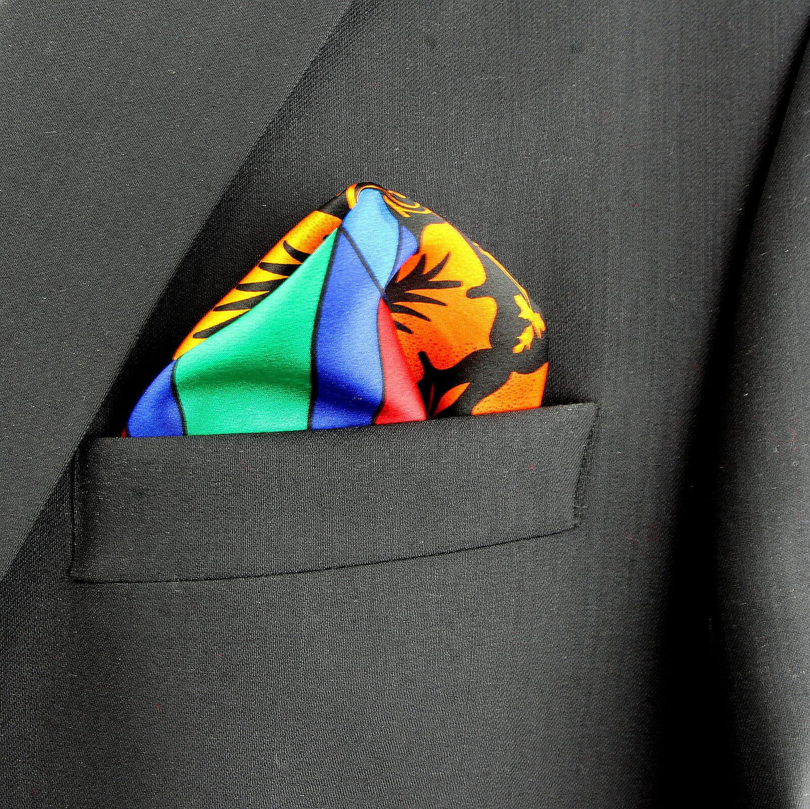 Men's Pocket Square Handkerchief Wedding Fashion Dress Striped Silk Multi Hanky