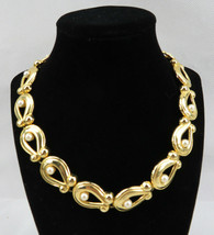"Vintage Costume Jewelry Faux Pearls Gold Tone Retro Necklace 18"" - $45.00"