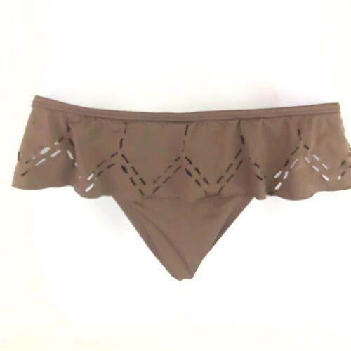 L Space Bitsy Cut Pebble Skirted Bikini Bottoms Womens L Large