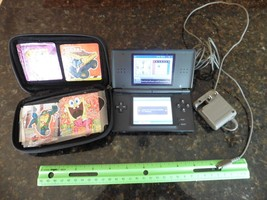 nintendo ds console black with blue case & charger  - $20.00