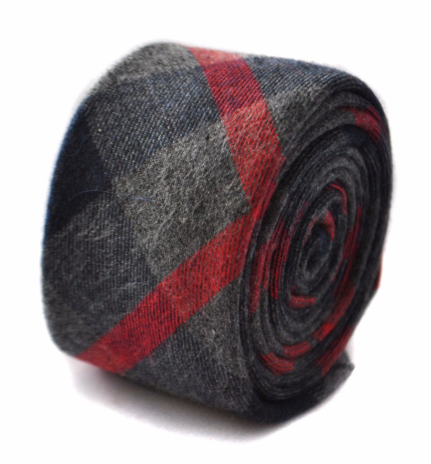 Frederick Thomas mens wool tweed tie in grey/blue with red check FT1816