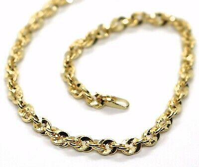 18K YELLOW GOLD ROPE CHAIN, 27.5 INCHES BRAIDED INFINITE FACETED ALTERNATE LINK