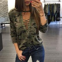 Women Sexy Lace up Long Sleeve T-Shirt Slim Casual Camouflage Print Tops S-5XL