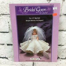 "Vintage 1986 Fiber Craft #FCM144 Bridal Gown To Crochet For 13"" Bed Doll - $9.89"