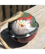 66283  - Santa green metal Bell Ornament with Red Hat  - $1.95