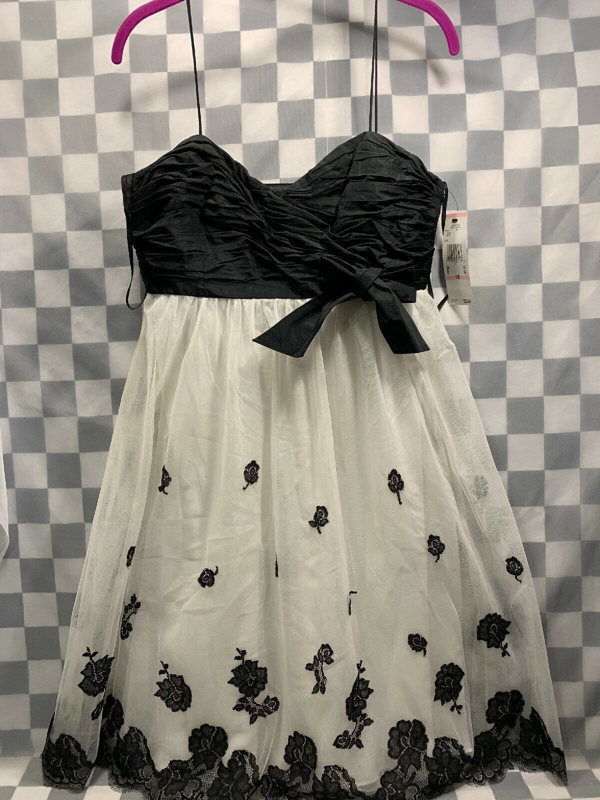 Primary image for ANNE KLEIN Dress Floral Fantasy Ivory Black Women's Size 10 NEW NWT MSRP $220