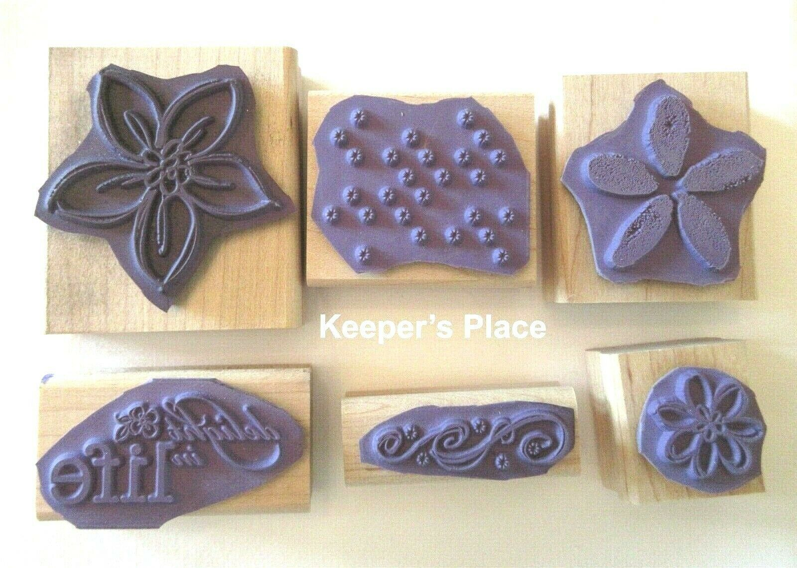 Set Of 6 Stampin Up DELIGHT IN LIFE Wood Mounted Stamps 2007 + Case image 2