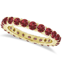 1CT Red Garnet Eternity Ring 14K Yellow Gold - $594.96+