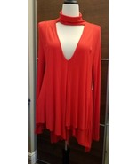 Free People Red Uptown Choker V Neck Top  Size M   New with Tags - $37.13