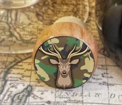 Deer Wine Stopper,  Camo Handmade Wood Bottle Stopper, Woodland Gift For... - $8.86