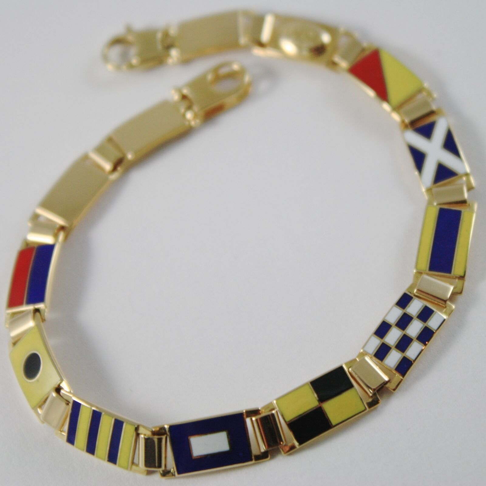 Bracelet Yellow Gold 750 18K, Flags Nautical 6.5 mm, Glazed Tiles, Made in Italy
