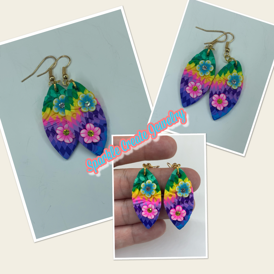 Hawaii Leaf Shape Flower Pattern Clay Earrings