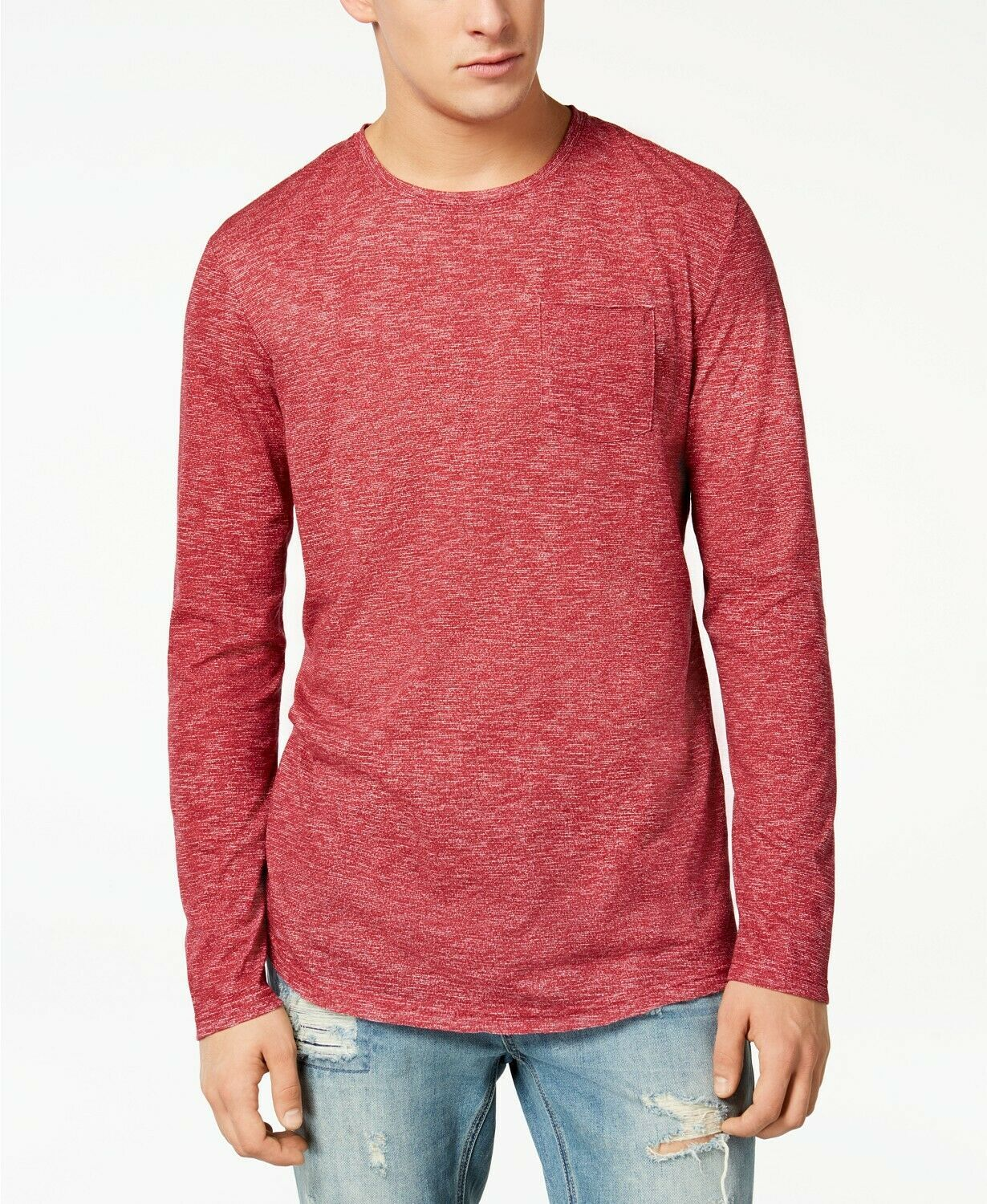 American Rag Men's Heathered Long Sleeve T-Shirt, Worn Red, Size S, MSRP $30