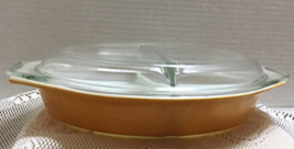 Vintage Pyrex Butterfly Gold, Divided Casserole Dish w/Lid - $12.50
