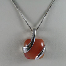 925 STERLING SILVER RHODIUM NECKLACE 17,72 In, RED AGATE PENDANT, VENETIAN MESH. image 2
