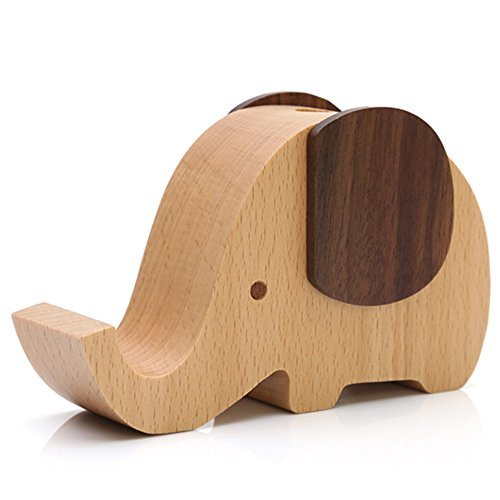 Olpchee Multifunctional Wooden Desk Pen Pencil Holder Creative Cute Elephant Des