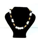 Vintage Hobe' Signed Black and White Agate Stone Bead BOHO Style Choker ... - $24.99