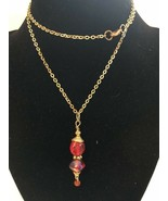 Vintage Goldtone Necklace With Red Beads - $5.00