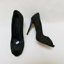 Nine West Womens Shoes Pumps Peep Toe Sparkle Black Escher Size US 9.5 M - $44.50