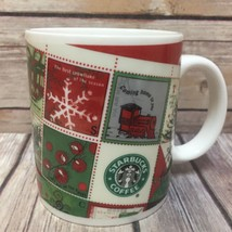 Starbucks Coffee Mug Barista Holiday 2001 Christmas Stamps Train Snowflake - $23.36